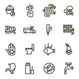 Causes of Diarrhea Black Thin Line Icon Set. Vector. Causes of Diarrhea Black Thin Line Icon Set Include of Toilet, Intestine, Fever, Virus, Water and Bacteria royalty free illustration