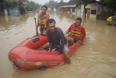 CAUSES OF INDONESIA SEASONAL FLOODING Royalty Free Stock Photo