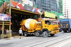 Causeway Bay, Hong Kong - 23 November 2018: Cement mixer truck.To build a building in Hong Kong.  stock images