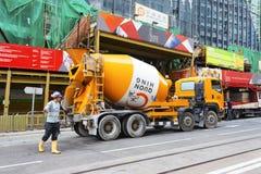 Causeway Bay, Hong Kong - 23 November 2018: Cement mixer truck.To build a building in Hong Kong.  royalty free stock photos