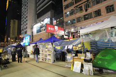 Causeway Bay night view of umbrella movement in Hong Kong Royalty Free Stock Photo