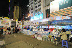 Causeway Bay night view of umbrella movement in Hong Kong Royalty Free Stock Photography