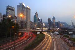 Causeway bay twilight Stock Photography
