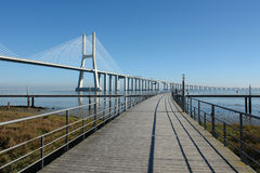 Causeway and bridge royalty free stock photography