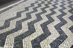 Causeway Geometry. Creative geometry pavement at Republica Avenue, Lisbon,Portugal,E.U Royalty Free Stock Images