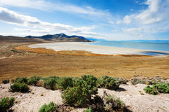 Causeway to Antelope Island on Great Salt Lake. Beautiful view of salty causeway to Antelope Island on Great Salt Lake, Utah, America Royalty Free Stock Images