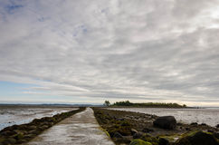 Causeway path to island. Causeway  path to island at Islandhill, Comber, in Northern Ireland. Causeway floods at high tide Royalty Free Stock Photography