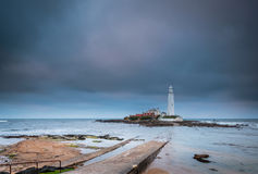 Causeway to St Mary`s Lighthouse Royalty Free Stock Photos