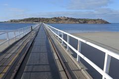 The Causeway Victor Harbor town in South Australia State Australia. Landscape view of the Causeway leading to Granite Island from Victor Harbor town in South stock images