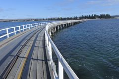 The Causeway Victor Harbor town in South Australia State Australia. Landscape view of the Causeway leading to  Victor Harbor town from Granite Island in South stock image