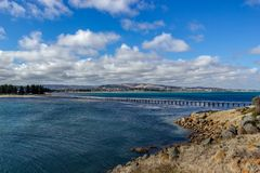 The Causeway Between Victor Harbour and Granite Island, South Australia stock photo