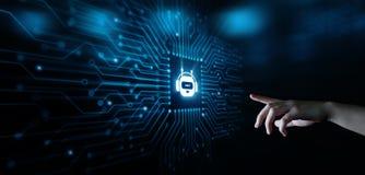 Causez le concept de causerie en ligne de technologie d'Internet d'affaires de communication de robot de bot Photo stock