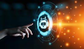 Causez le concept de causerie en ligne de technologie d'Internet d'affaires de communication de robot de bot Photo libre de droits