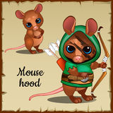Caute mouse in a green suit and weapons Stock Images
