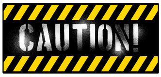 Caution. Grunge caution sign with yellow stripes stock illustration