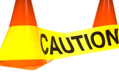 Caution!. Caution tape with orange warning cones on a white background Royalty Free Stock Photo