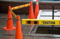 Caution. Sigh. Tape around a hole in pavement Royalty Free Stock Photo