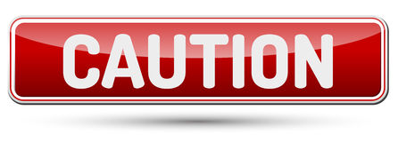 CAUTION - Abstract beautiful button with text. Stock Photo