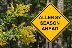 Caution - Allergy Season Ahead. Caution Sign - Allergy Season Ahead Royalty Free Stock Photos