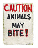 Caution Animals May Bite Sign Royalty Free Stock Photos