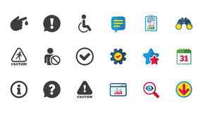 Caution and attention icons. Information signs. Royalty Free Stock Photo