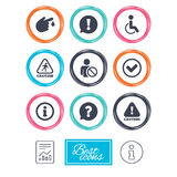 Caution and attention icons. Information signs. Caution and attention icons. Question mark and information signs. Injury and disabled person symbols. Report Royalty Free Stock Image