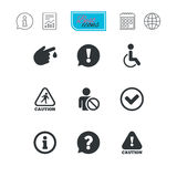 Caution and attention icons. Information signs. Caution and attention icons. Question mark and information signs. Injury and disabled person symbols. Report Stock Image