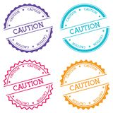 Caution badge isolated on white background. Flat style round label with text. Circular emblem vector illustration Royalty Free Stock Images