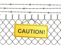 Caution. barbed wire fence with sign. 3d Royalty Free Stock Photos