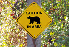 Caution Bear in Area Sign Stock Image