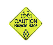 Caution bicycle race Stock Photo