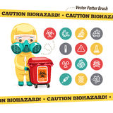 Caution Biohazard Icons and Doctor with Red. Container. Isolated on White Background. Used pattern brush with yellow tape included. Clipping paths included in Royalty Free Stock Image