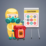 Caution Biohazard Poster with Doctor and Flipchart Royalty Free Stock Photo