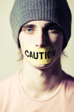 Caution boy Royalty Free Stock Photos