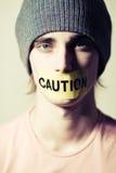 Caution boy royalty free stock photos