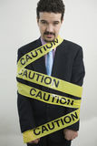 Caution businessman Royalty Free Stock Image