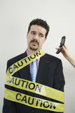 Caution businessman Royalty Free Stock Photography