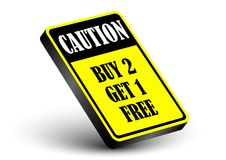 Caution buy 2 get 1 free. Business banner promotion strategy Stock Photography