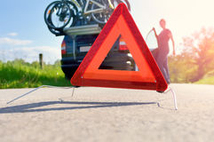 Caution - Car Trouble on a Holiday Trip Stock Photography