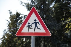 Caution children playing sign Royalty Free Stock Image