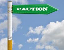 Caution cigarette road sign Stock Image