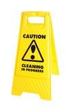 Caution cleaning sign. Caution cleaning in progress sign, shot in studio and isolated on white Royalty Free Stock Photography