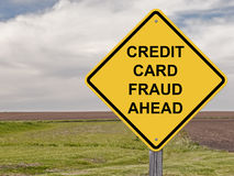 Caution - Credit Card Fraud Ahead. Caution Sign - Credit Card Fraud Ahead Royalty Free Stock Photos