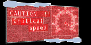 Caution critical speed. Futuristic speed caution screen and speeding car gauge Stock Images