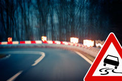 Caution - Curvy Road at Night Royalty Free Stock Photography