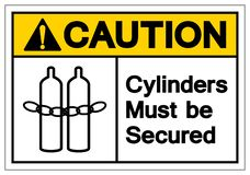 Caution Cylinders Must Be Secured Symbol Sign, Vector Illustration, Isolate On White Background Label .EPS10 royalty free illustration