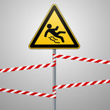 Caution - danger Beware of slippery. Safety sign. The triangular sign on a metal pole with warning bands. Gray background. Vector Stock Image