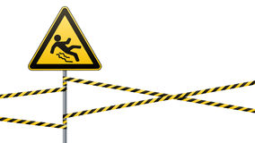 Caution - danger Beware of slippery. Safety sign. The triangular sign on a metal pole with warning bands. White background. Vector Stock Images