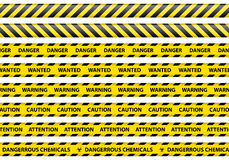 Caution and danger ribbon sign white background  Royalty Free Stock Photo