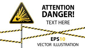 Caution - danger Warning sign safety. Explosive substances. yellow triangle with black image. sign on the pole and protecting ribb. Caution - danger Warning sign Royalty Free Stock Photo